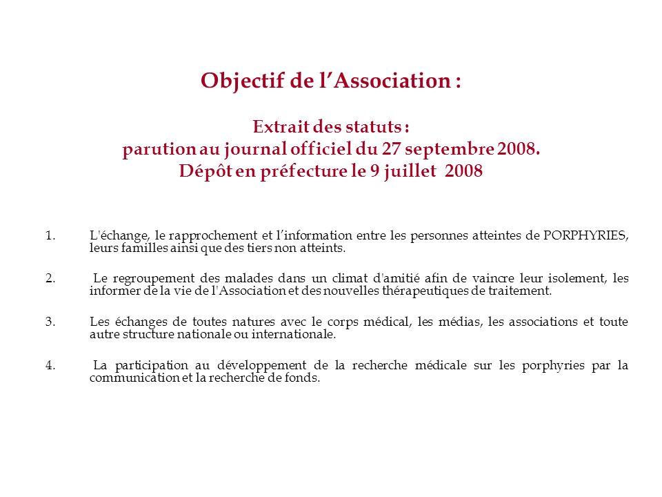 Objectif de lAssociation : Extrait des statuts : parution au journal officiel du 27 septembre 2008. Dépôt en préfecture le 9 juillet 2008 1.L'échange,