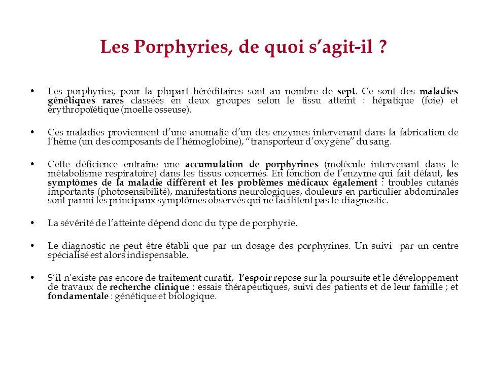 Les Porphyries, de quoi sagit-il ? Les porphyries, pour la plupart héréditaires sont au nombre de sept. Ce sont des maladies génétiques rares classées