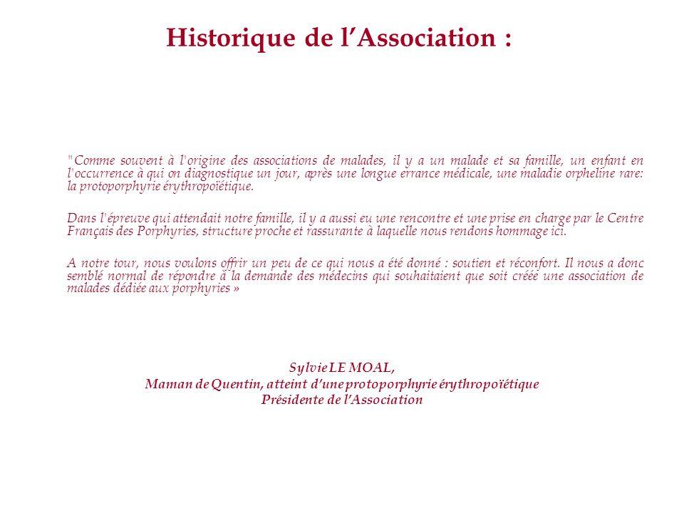 Historique de lAssociation :