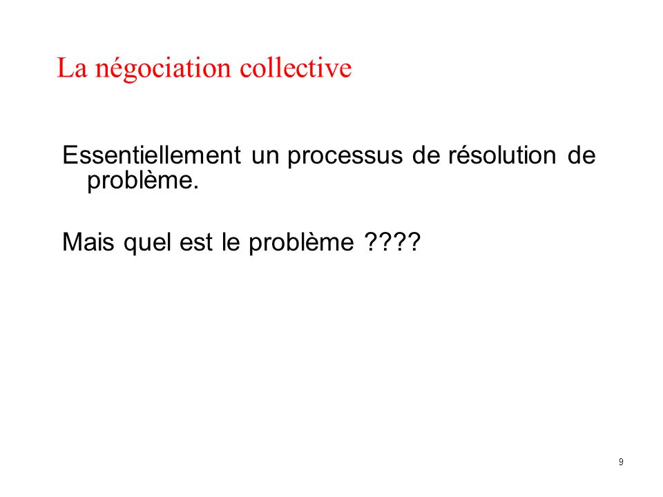 La négociation collective Essentiellement un processus de résolution de problème.