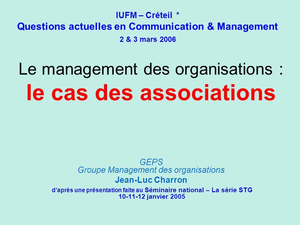 Le management des organisations : le cas des associations GEPS Groupe Management des organisations Jean-Luc Charron daprès une présentation faite au S