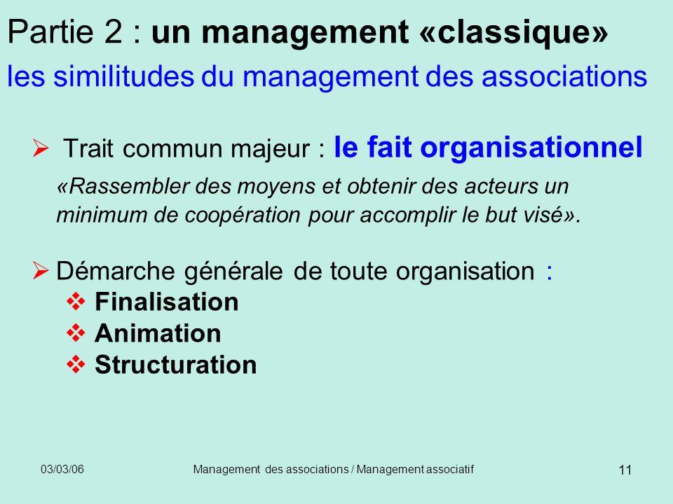 03/03/06Management des associations / Management associatif 11 Partie 2 : un management «classique» les similitudes du management des associations Tra