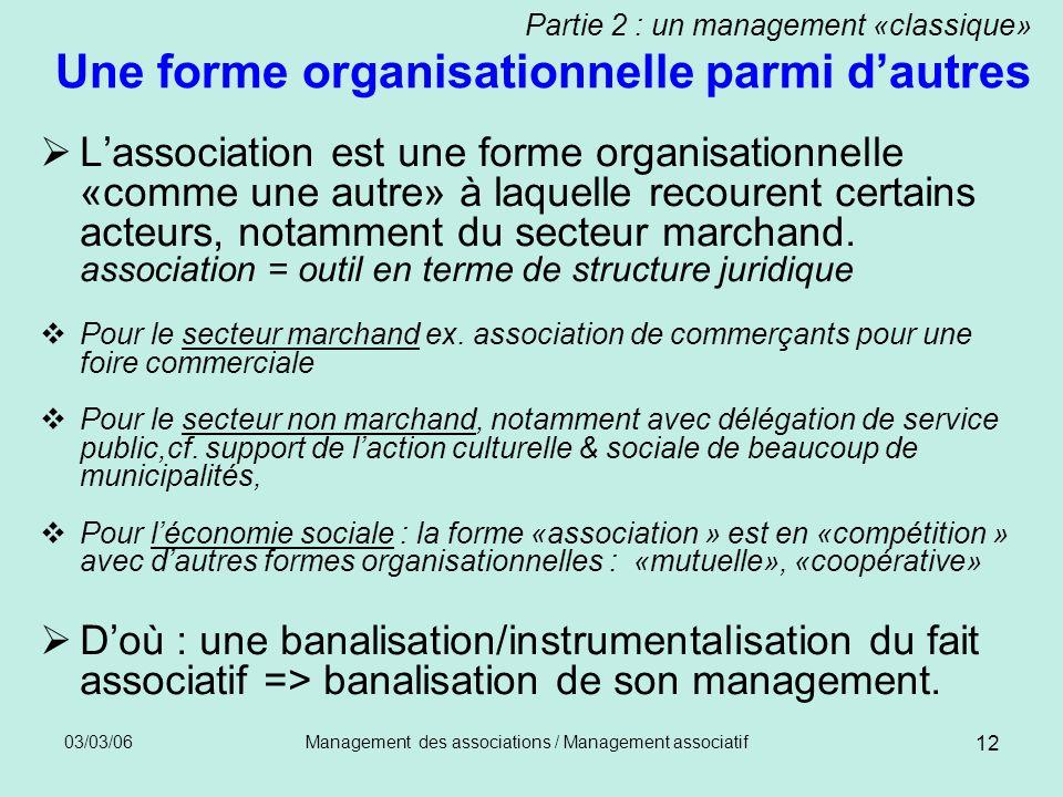 03/03/06Management des associations / Management associatif 12 Partie 2 : un management «classique» Une forme organisationnelle parmi dautres Lassocia