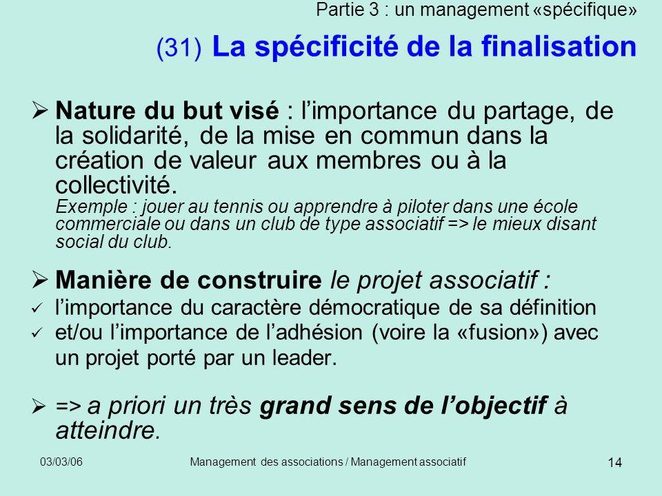 03/03/06Management des associations / Management associatif 14 Partie 3 : un management «spécifique» (31) La spécificité de la finalisation Nature du