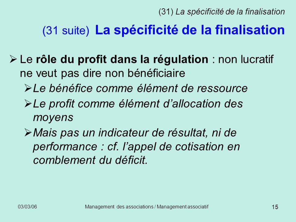 03/03/06Management des associations / Management associatif 15 (31) La spécificité de la finalisation (31 suite) La spécificité de la finalisation Le