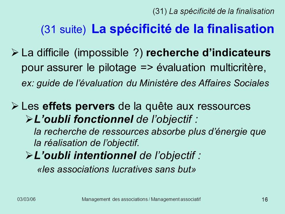 03/03/06Management des associations / Management associatif 16 (31) La spécificité de la finalisation (31 suite) La spécificité de la finalisation La