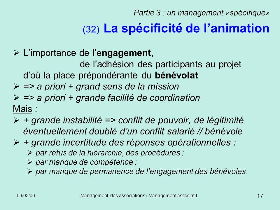 03/03/06Management des associations / Management associatif 17 Partie 3 : un management «spécifique» (32) La spécificité de lanimation Limportance de