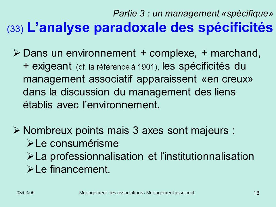 03/03/06Management des associations / Management associatif 18 Partie 3 : un management «spécifique» (33) Lanalyse paradoxale des spécificités Dans un