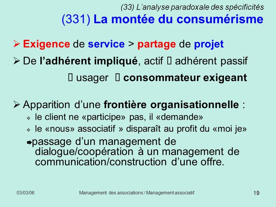 03/03/06Management des associations / Management associatif 19 (33) Lanalyse paradoxale des spécificités (331) La montée du consumérisme Exigence de s