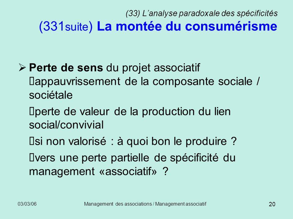 03/03/06Management des associations / Management associatif 20 (33) Lanalyse paradoxale des spécificités (331 suite ) La montée du consumérisme Perte
