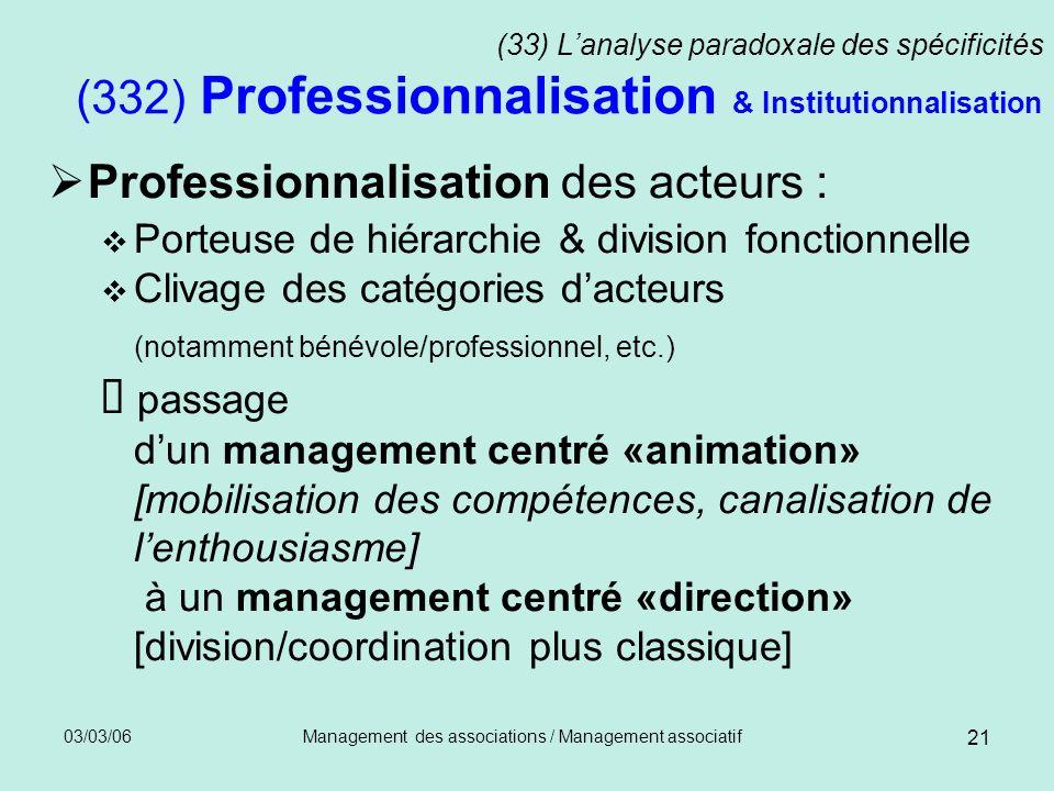 03/03/06Management des associations / Management associatif 21 (33) Lanalyse paradoxale des spécificités (332) Professionnalisation & Institutionnalis