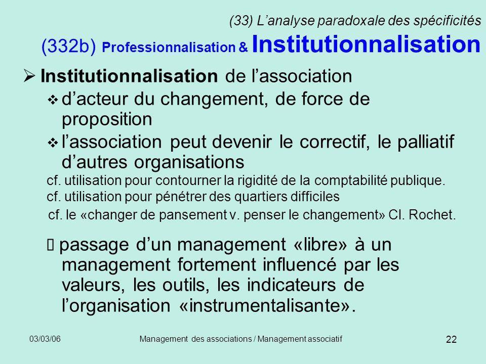 03/03/06Management des associations / Management associatif 22 (33) Lanalyse paradoxale des spécificités (332b) Professionnalisation & Institutionnali