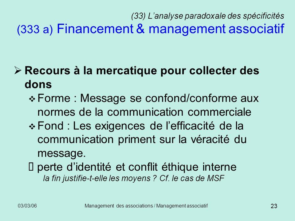 03/03/06Management des associations / Management associatif 23 (33) Lanalyse paradoxale des spécificités (333 a) Financement & management associatif R