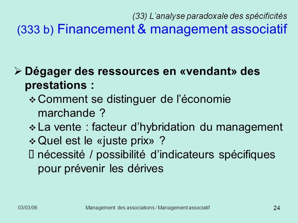 03/03/06Management des associations / Management associatif 24 (33) Lanalyse paradoxale des spécificités (333 b) Financement & management associatif D