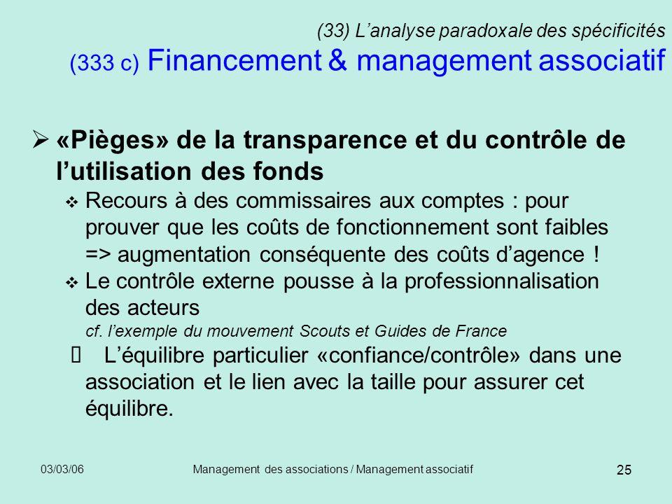 03/03/06Management des associations / Management associatif 25 (33) Lanalyse paradoxale des spécificités (333 c) Financement & management associatif «