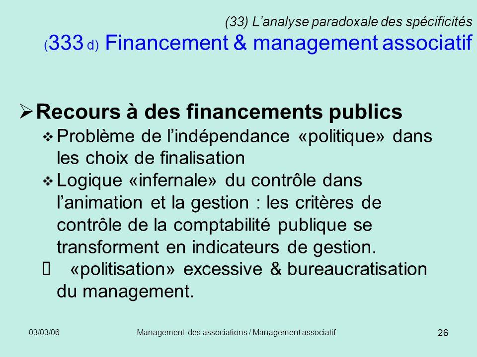 03/03/06Management des associations / Management associatif 26 (33) Lanalyse paradoxale des spécificités ( 333 d) Financement & management associatif