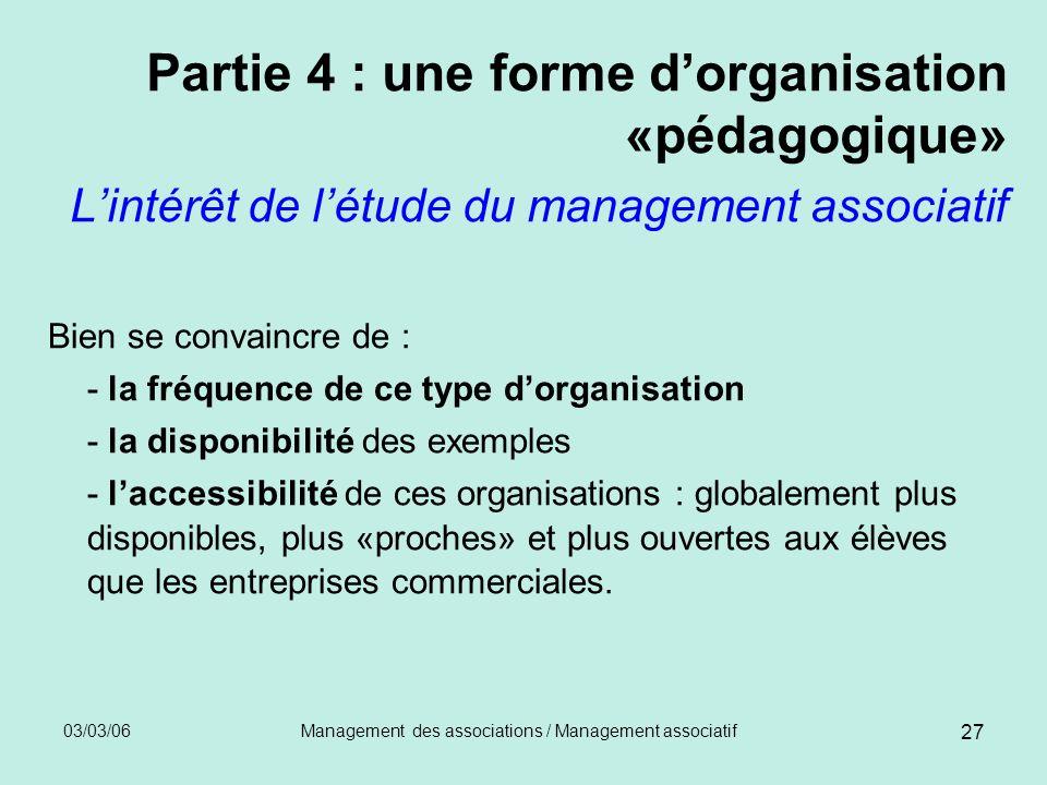 03/03/06Management des associations / Management associatif 27 Partie 4 : une forme dorganisation «pédagogique» Lintérêt de létude du management assoc