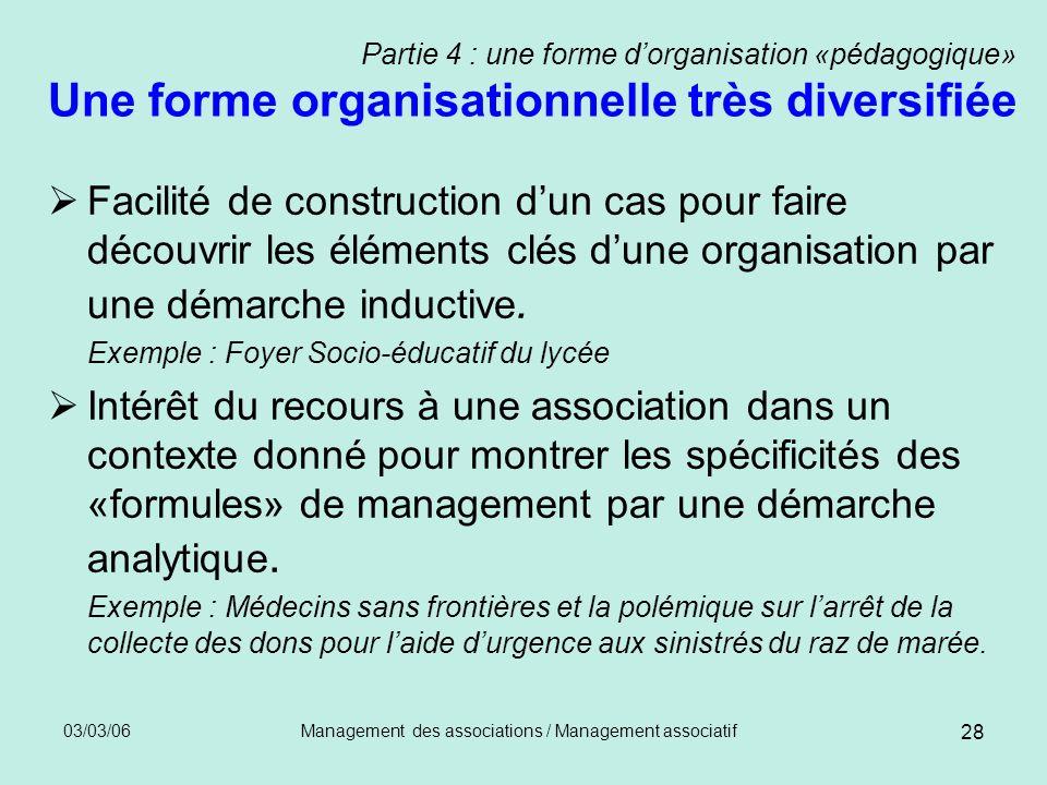 03/03/06Management des associations / Management associatif 28 Partie 4 : une forme dorganisation «pédagogique» Une forme organisationnelle très diver