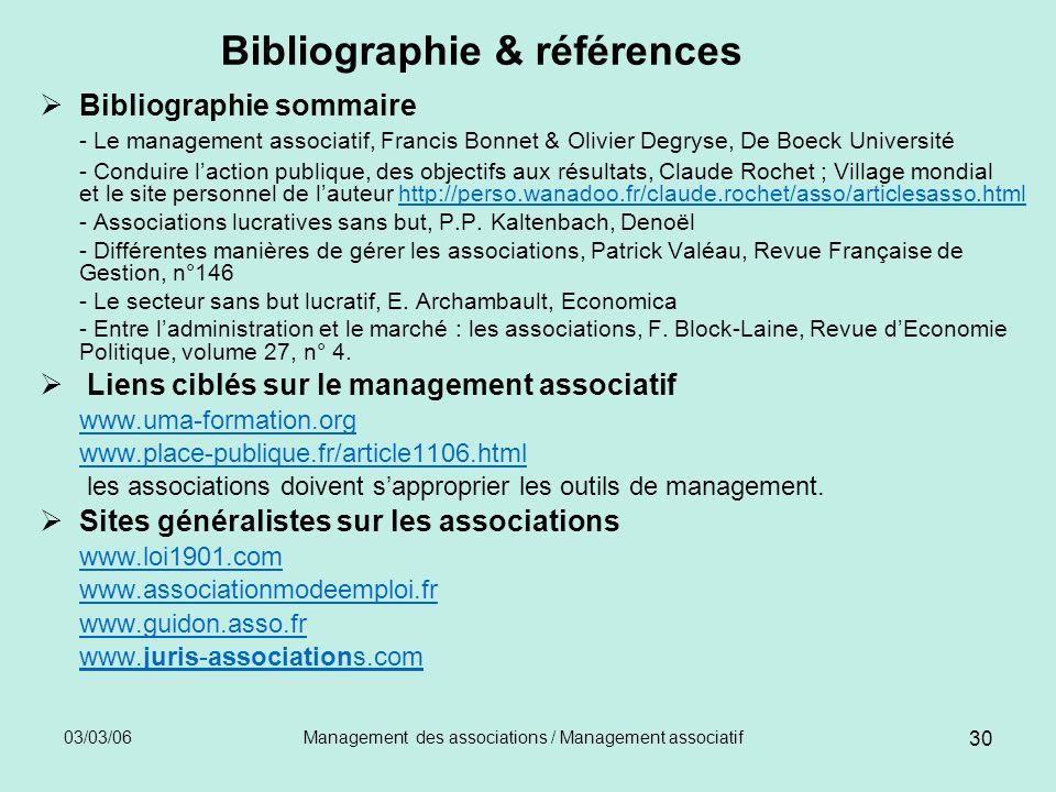 03/03/06Management des associations / Management associatif 30 Bibliographie & références Bibliographie sommaire - Le management associatif, Francis B