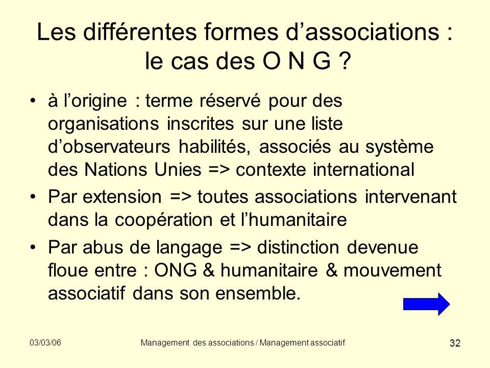 03/03/06Management des associations / Management associatif 32 Les différentes formes dassociations : le cas des O N G ? à lorigine : terme réservé po