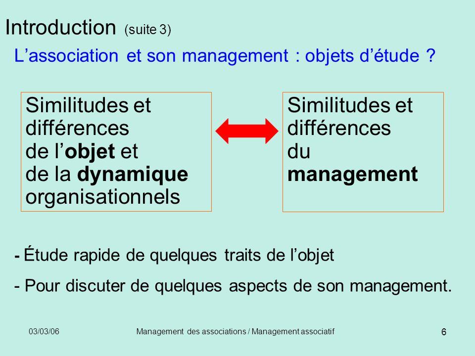 03/03/06Management des associations / Management associatif 7 Introduction (suite 4) Quel management .