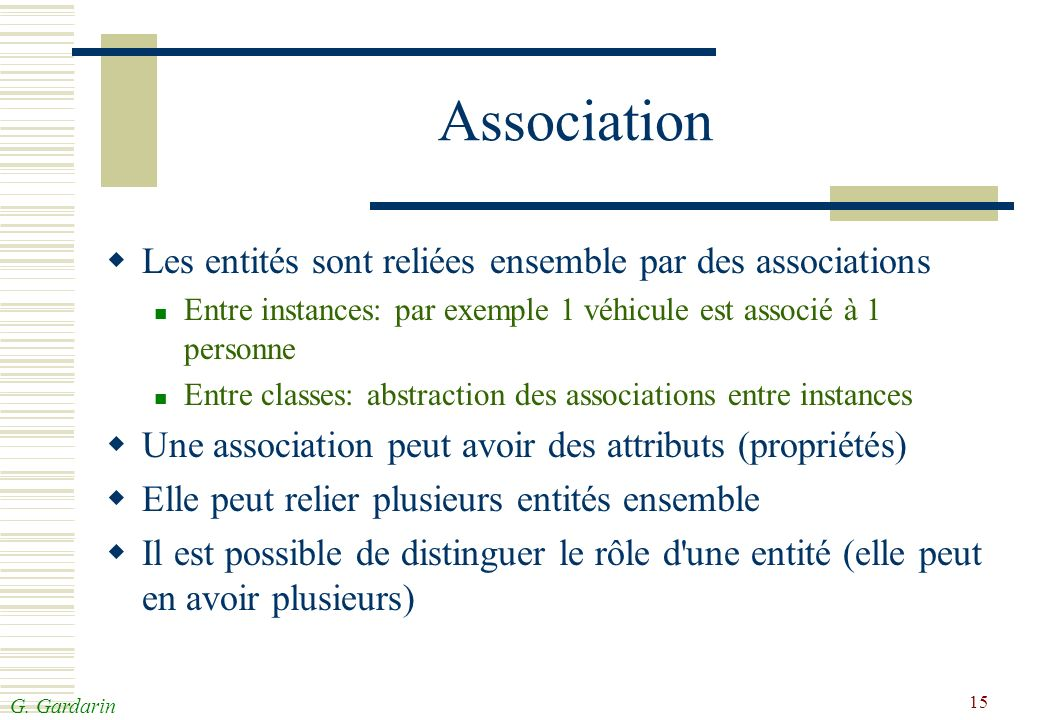G. Gardarin 15 Association Les entités sont reliées ensemble par des associations Entre instances: par exemple 1 véhicule est associé à 1 personne Ent