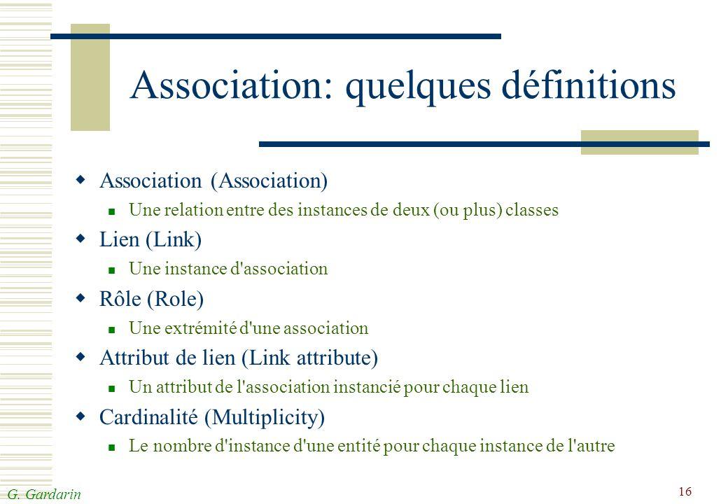 G. Gardarin 16 Association: quelques définitions Association (Association) Une relation entre des instances de deux (ou plus) classes Lien (Link) Une