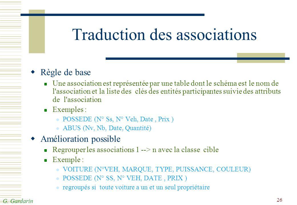 G. Gardarin 26 Traduction des associations Règle de base Une association est représentée par une table dont le schéma est le nom de l'association et l