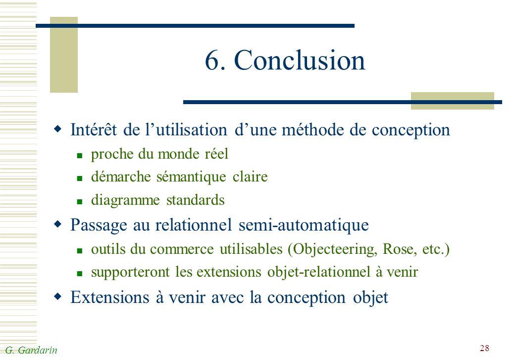 G. Gardarin 28 6. Conclusion Intérêt de lutilisation dune méthode de conception proche du monde réel démarche sémantique claire diagramme standards Pa