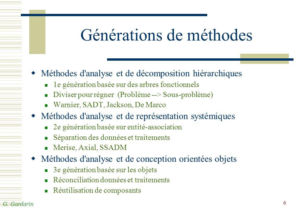 G. Gardarin 6 Générations de méthodes Méthodes d'analyse et de décomposition hiérarchiques 1e génération basée sur des arbres fonctionnels Diviser pou