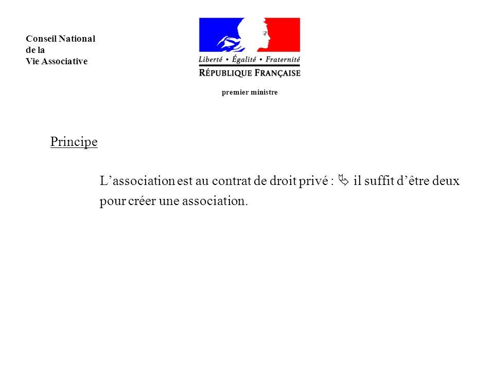 Principe Lassociation est au contrat de droit privé : il suffit dêtre deux pour créer une association.