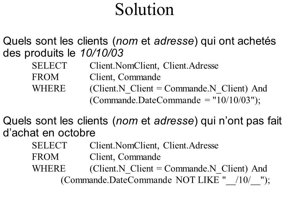 Solution Quels sont les clients (nom et adresse) qui ont achetés des produits le 10/10/03 SELECT Client.NomClient, Client.Adresse FROM Client, Commande WHERE (Client.N_Client = Commande.N_Client) And (Commande.DateCommande = 10/10/03 ); Quels sont les clients (nom et adresse) qui nont pas fait dachat en octobre SELECT Client.NomClient, Client.Adresse FROM Client, Commande WHERE (Client.N_Client = Commande.N_Client) And (Commande.DateCommande NOT LIKE __/10/__ );