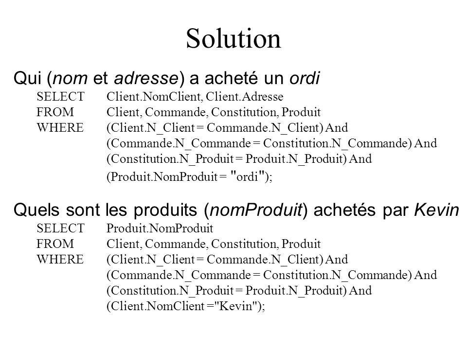 Solution Qui (nom et adresse) a acheté un ordi SELECT Client.NomClient, Client.Adresse FROM Client, Commande, Constitution, Produit WHERE (Client.N_Client = Commande.N_Client) And (Commande.N_Commande = Constitution.N_Commande) And (Constitution.N_Produit = Produit.N_Produit) And (Produit.NomProduit = ordi ); Quels sont les produits (nomProduit) achetés par Kevin SELECT Produit.NomProduit FROM Client, Commande, Constitution, Produit WHERE (Client.N_Client = Commande.N_Client) And (Commande.N_Commande = Constitution.N_Commande) And (Constitution.N_Produit = Produit.N_Produit) And (Client.NomClient = Kevin );