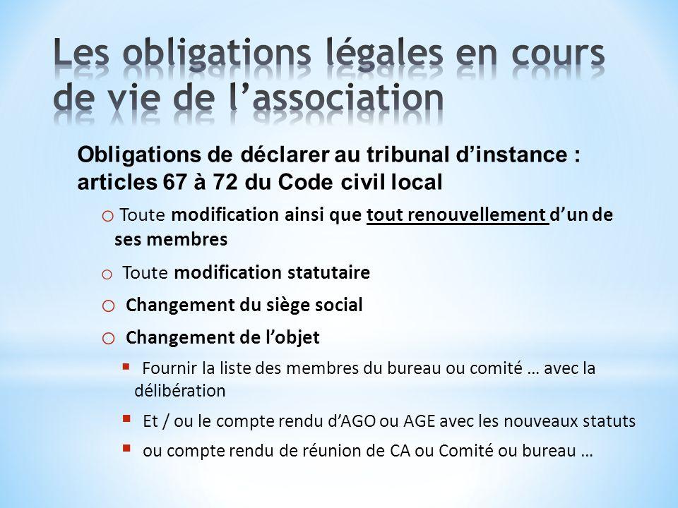 Obligations de déclarer au tribunal dinstance : articles 67 à 72 du Code civil local o Toute modification ainsi que tout renouvellement dun de ses mem