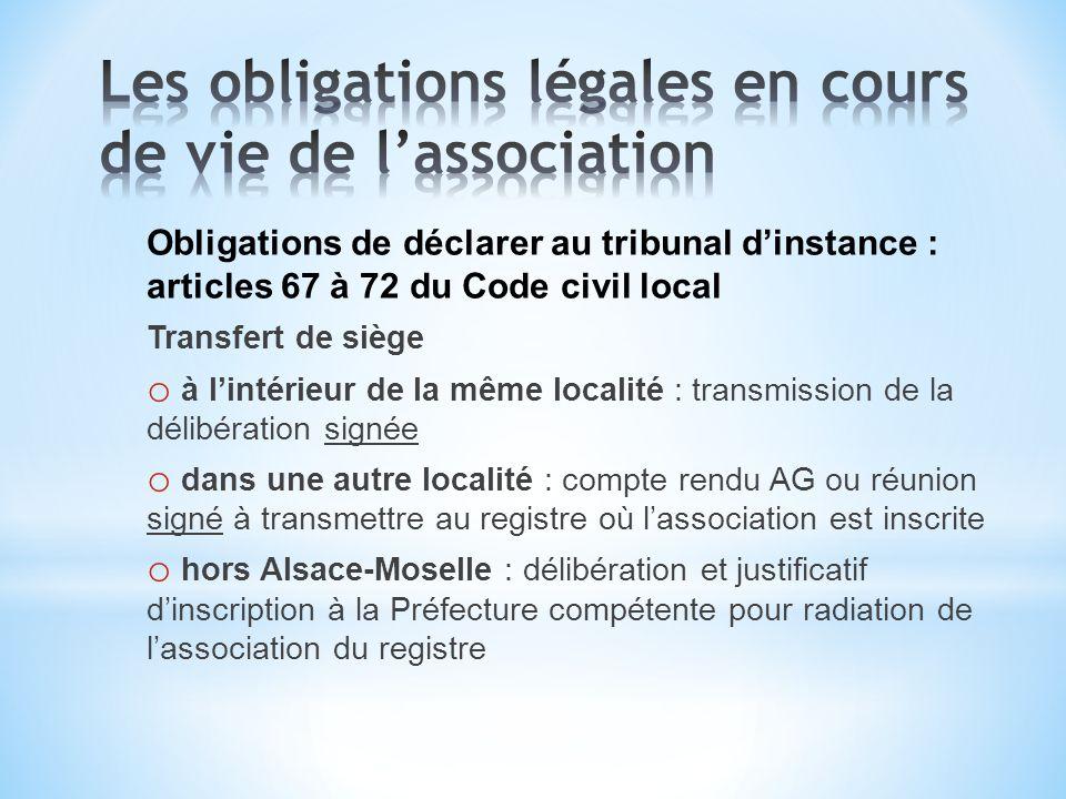 Obligations de déclarer au tribunal dinstance : articles 67 à 72 du Code civil local Transfert de siège o à lintérieur de la même localité : transmiss