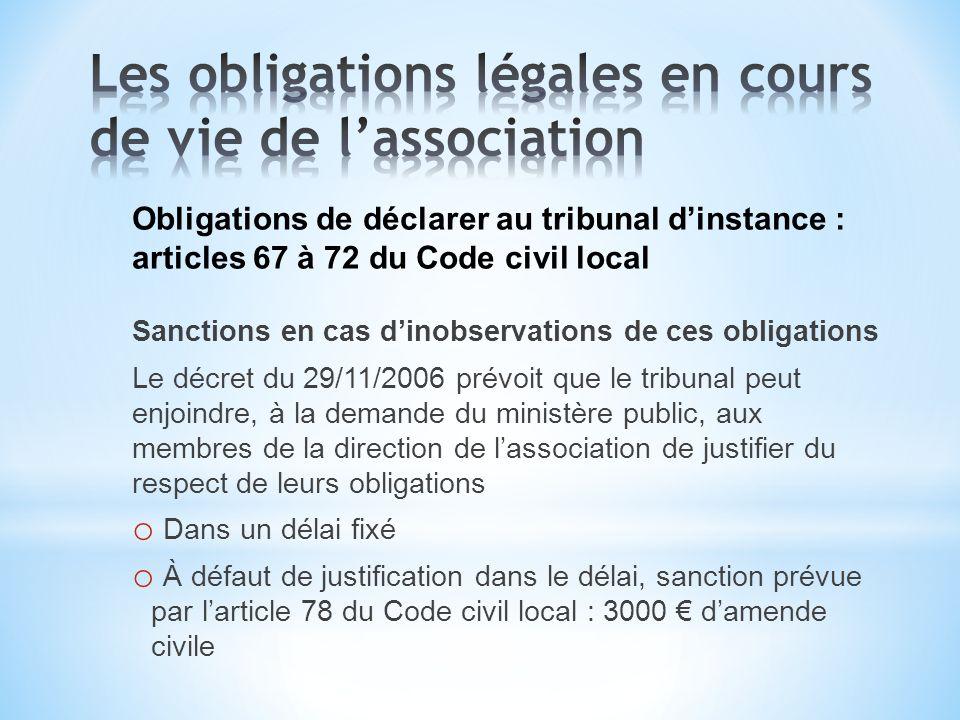 Obligations de déclarer au tribunal dinstance : articles 67 à 72 du Code civil local Sanctions en cas dinobservations de ces obligations Le décret du