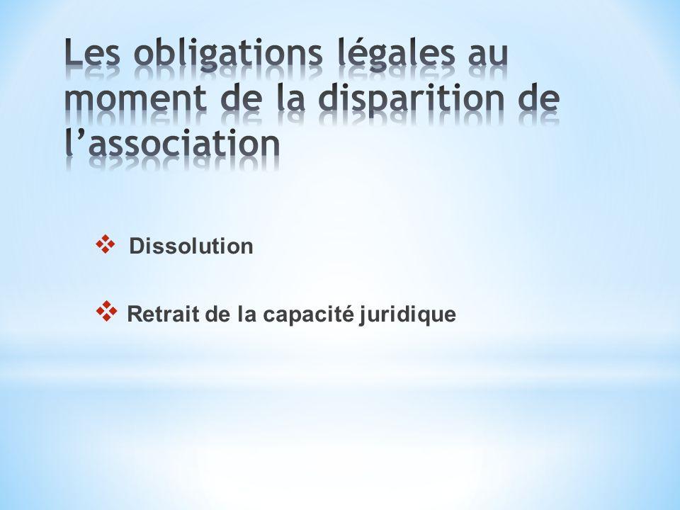 Dissolution Retrait de la capacité juridique