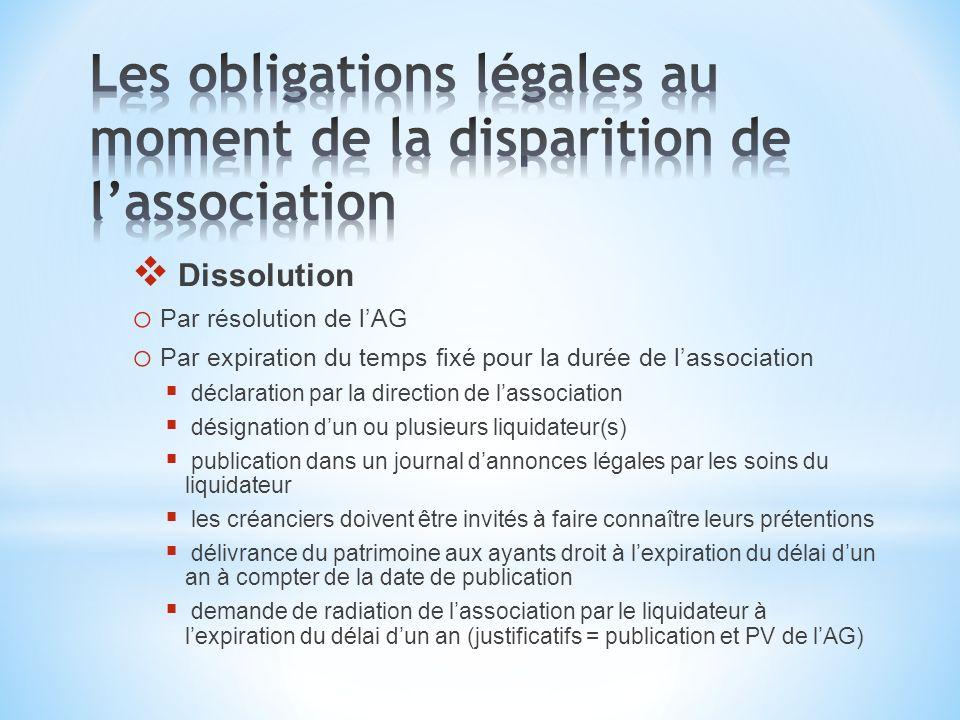 Dissolution o Par résolution de lAG o Par expiration du temps fixé pour la durée de lassociation déclaration par la direction de lassociation désignat