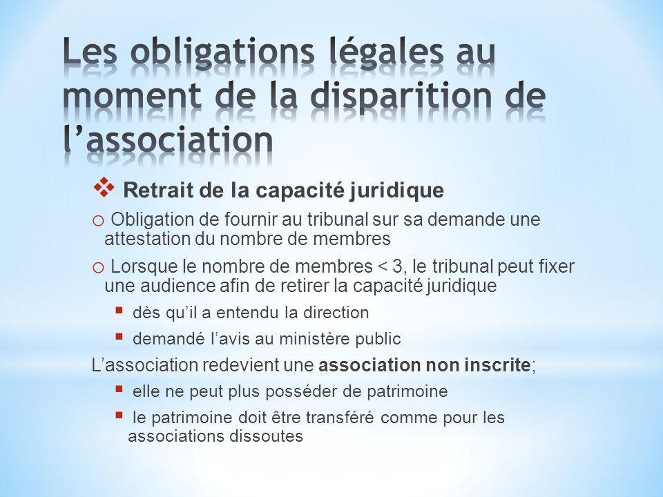 Retrait de la capacité juridique o Obligation de fournir au tribunal sur sa demande une attestation du nombre de membres o Lorsque le nombre de membre