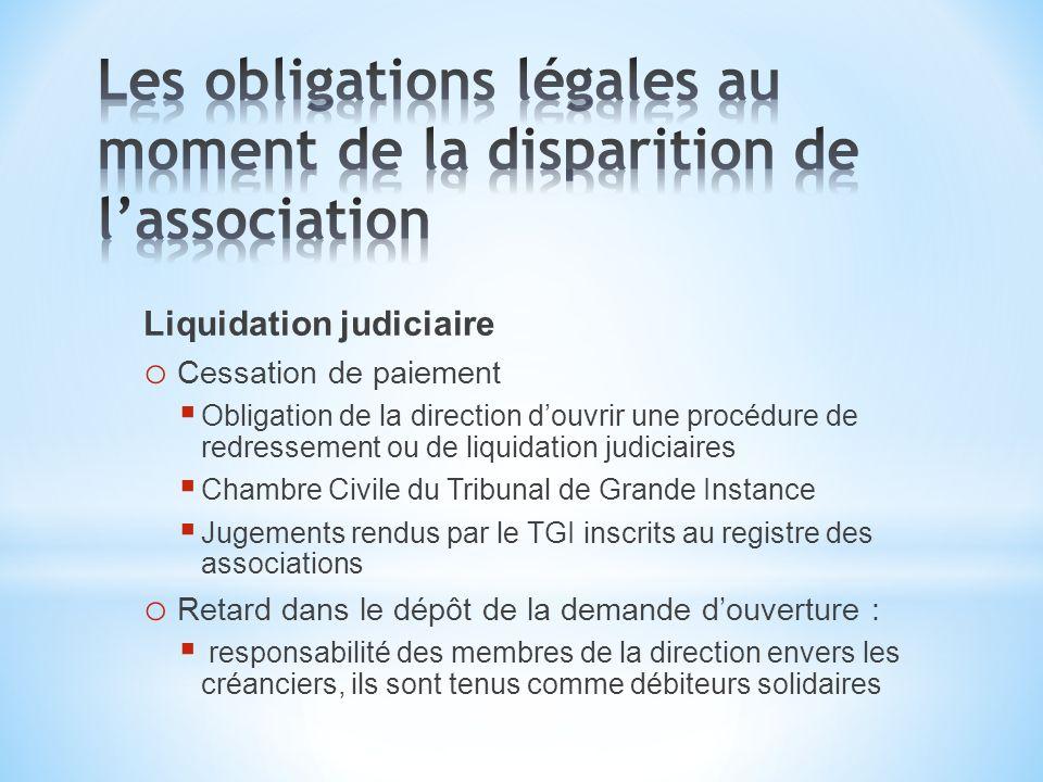 Liquidation judiciaire o Cessation de paiement Obligation de la direction douvrir une procédure de redressement ou de liquidation judiciaires Chambre