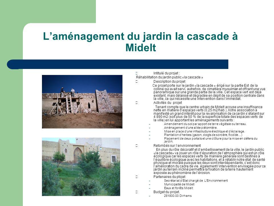 Laménagement du jardin la cascade à Midelt Intitulé du projet : Réhabilitation du jardin public «la cascade » Description du projet Ce projet porte su