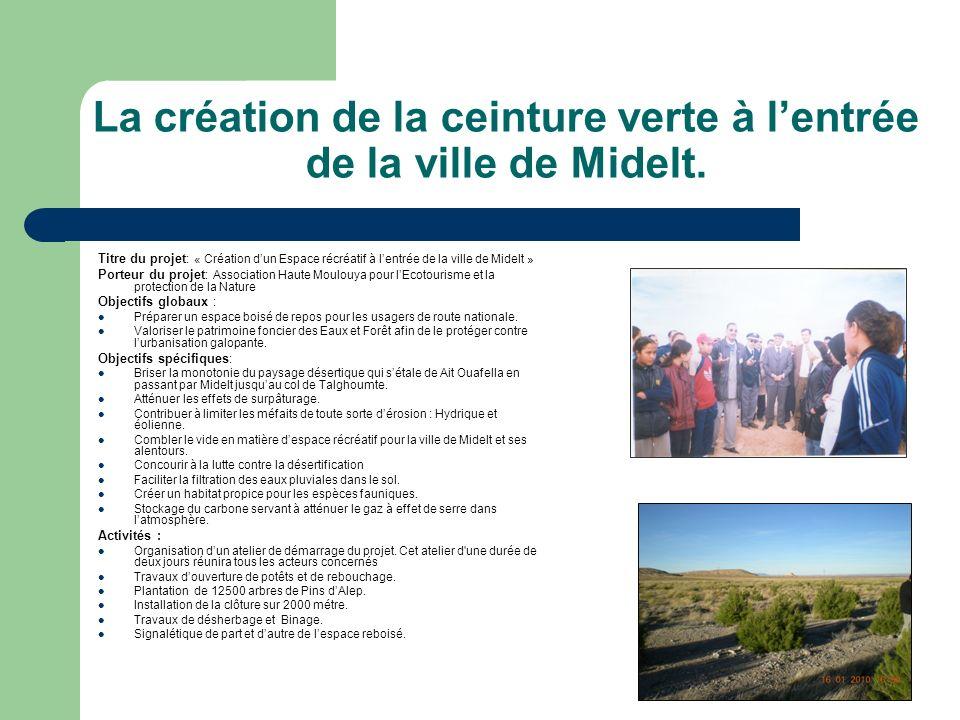 La création de la ceinture verte à lentrée de la ville de Midelt. Titre du projet : « Création dun Espace récréatif à lentrée de la ville de Midelt »