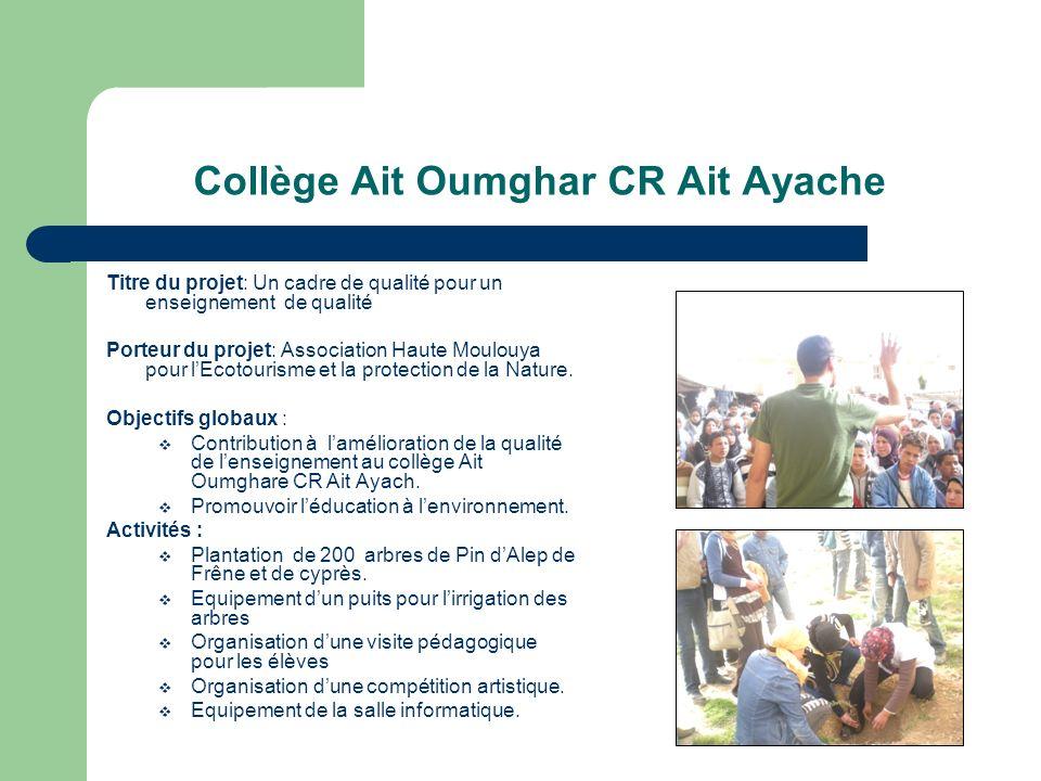 Collège Ait Oumghar CR Ait Ayache Titre du projet: Un cadre de qualité pour un enseignement de qualité Porteur du projet: Association Haute Moulouya pour lEcotourisme et la protection de la Nature.