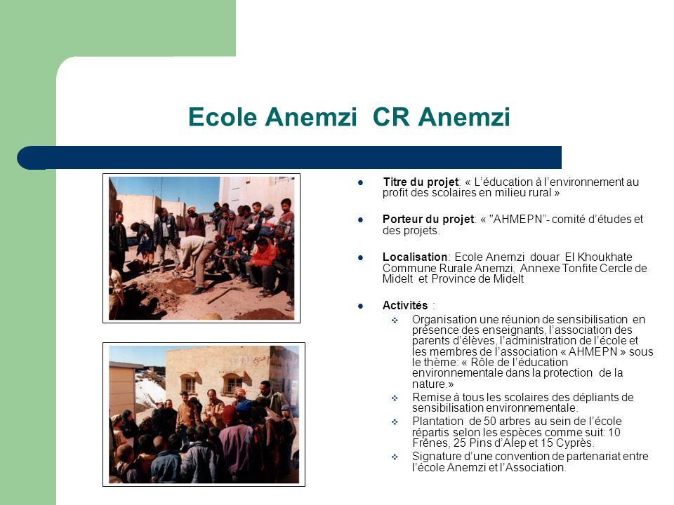 Ecole Anemzi CR Anemzi Titre du projet: « Léducation à lenvironnement au profit des scolaires en milieu rural » Porteur du projet: « AHMEPN- comité détudes et des projets.