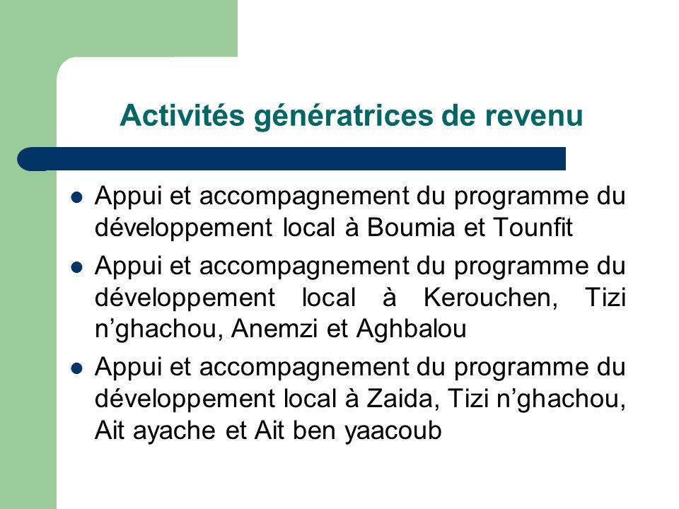 Activités génératrices de revenu Appui et accompagnement du programme du développement local à Boumia et Tounfit Appui et accompagnement du programme du développement local à Kerouchen, Tizi nghachou, Anemzi et Aghbalou Appui et accompagnement du programme du développement local à Zaida, Tizi nghachou, Ait ayache et Ait ben yaacoub