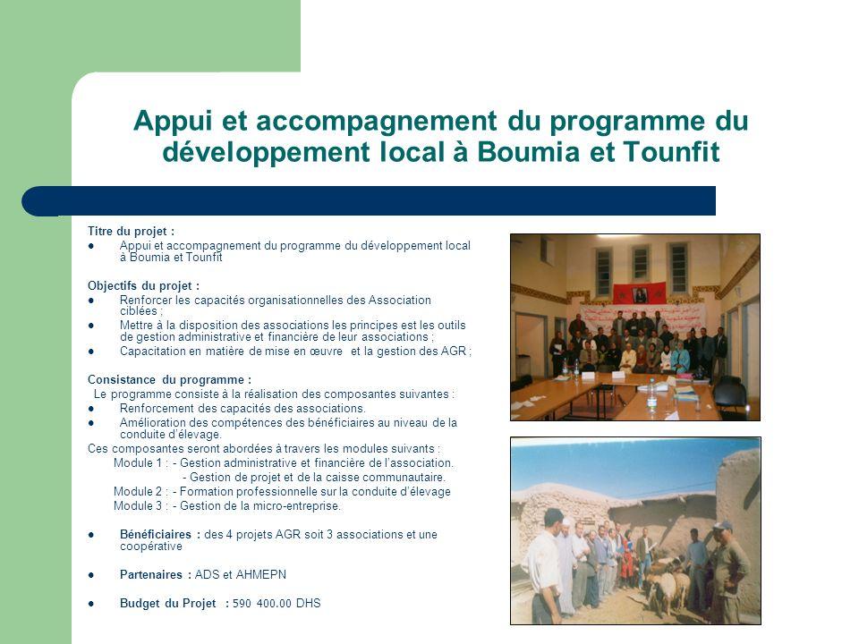 Appui et accompagnement du programme du développement local à Boumia et Tounfit Titre du projet : Appui et accompagnement du programme du développemen