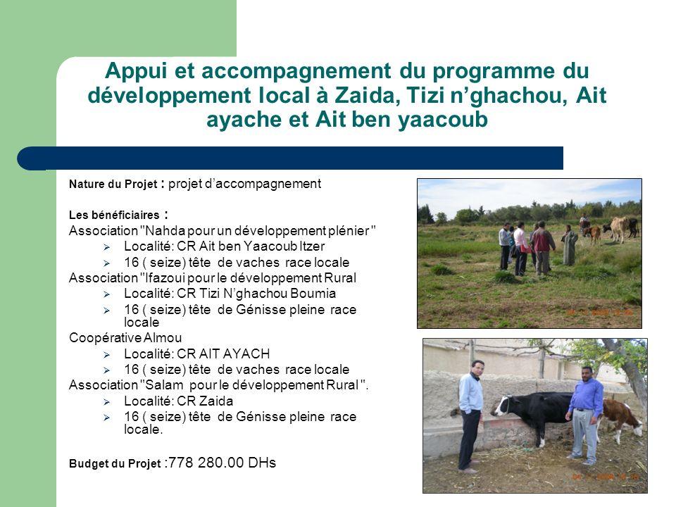 Appui et accompagnement du programme du développement local à Zaida, Tizi nghachou, Ait ayache et Ait ben yaacoub Nature du Projet : projet daccompagn