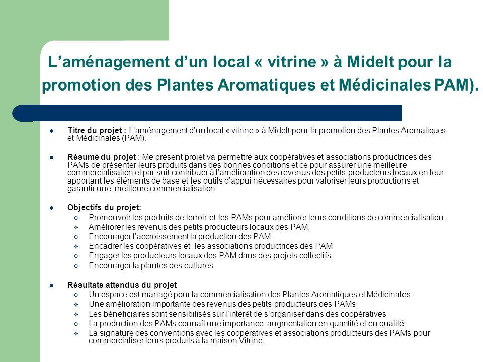 Laménagement dun local « vitrine » à Midelt pour la promotion des Plantes Aromatiques et Médicinales PAM). Titre du projet : Laménagement dun local «