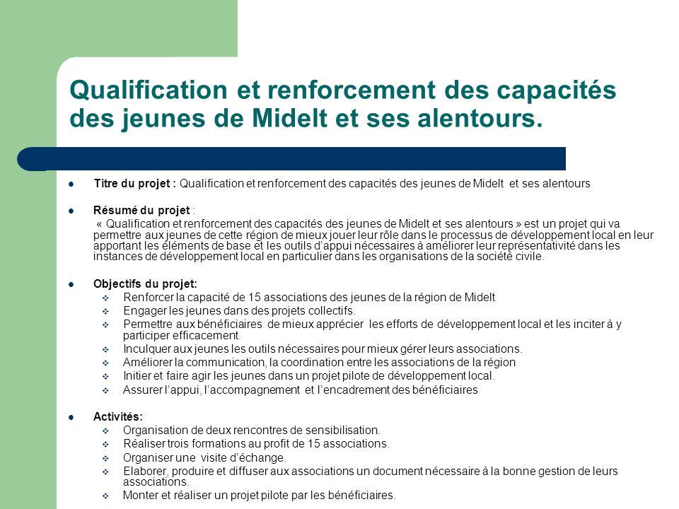 Qualification et renforcement des capacités des jeunes de Midelt et ses alentours. Titre du projet : Qualification et renforcement des capacités des j