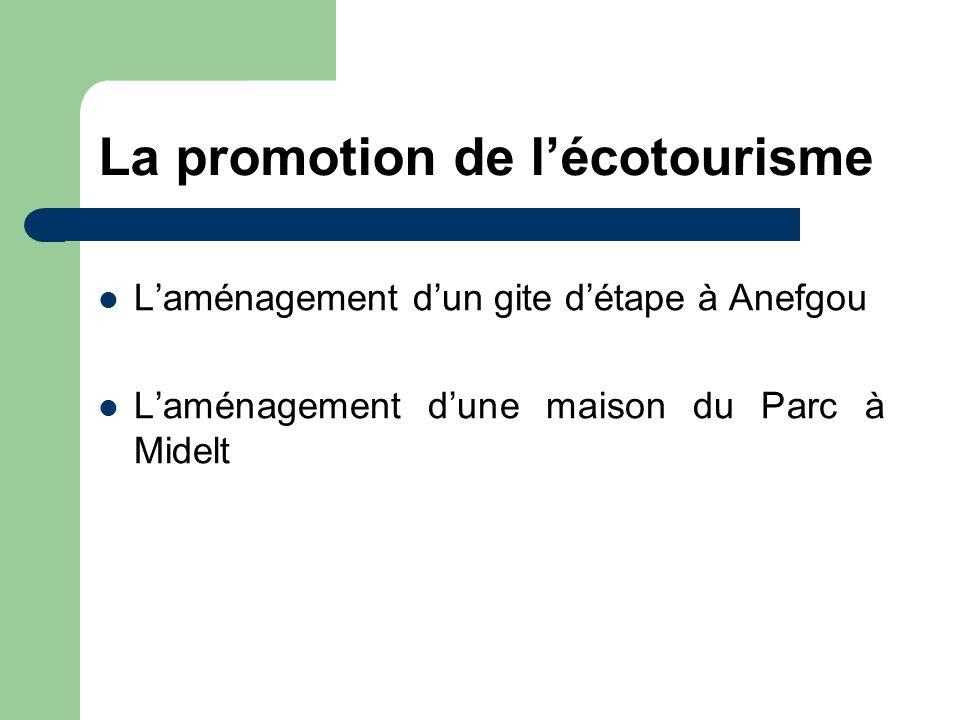 La promotion de lécotourisme Laménagement dun gite détape à Anefgou Laménagement dune maison du Parc à Midelt